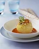 Stuffed kohlrabi on tomato and basil cream