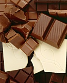 Pieces of dark and white chocolate