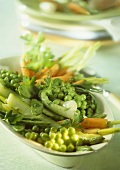 Buttered vegetables (asparagus, peas, carrots, mangetout)