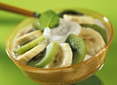 Quark with banana, ginger and kiwi fruit