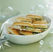 Sesame rolls filled with egg salad