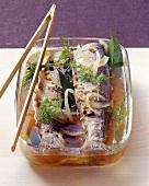 Fried herrings in wine marinade