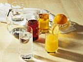Orange juice, mineral water, grape juice and apple juice