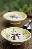 Vanilla cream with chestnut sauce