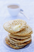 Crumpets with butter