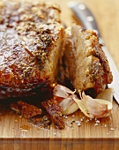 Roast pork with crackling and seasoning