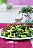 Lamb chops and bean salad with herbs and lime dressing