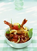 Tomato and bread salad with fried gambas