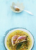 Red mullet in pistou soup