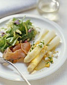 White asparagus with marinated charr and egg dressing