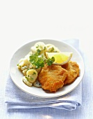 Wiener Schnitzel (breaded veal escalope) with potato salad