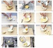 Making half-cooked and half-raw potato dumplings