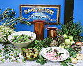 Taramosalata and herbs and vegetables (Greek cuisine)