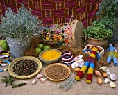 African display with curry, pepper and cardamom