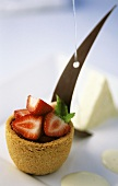 Shortbread cup with yogurt parfait, Champagne sabayon and strawberries
