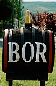 A barrel of wine with the word 'BOR' (wine) in Hungary