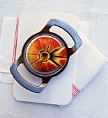 Cutting an apple with an apple slicer