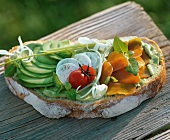 A slice of bread with avocado cream and vegetables