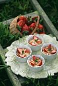 Quark desserts with fresh strawberries
