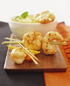 Spicy prawn kebabs with mango sauce