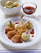 Crispy country duck with bread-potato dumplings