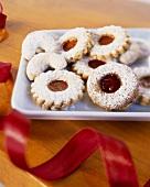 Jam biscuits and Vanillekipferl (cresent-shaped vanilla biscuits)