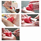 Making a marzipan heart