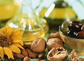 Sunflowers, nuts, olives and oils
