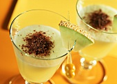 Melon and whey flip with chocolate shavings