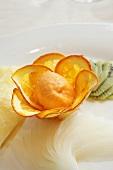 Orange sorbet with orange slices