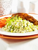Leek risotto as an accompaniment to chicken breast