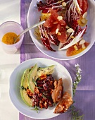 Radicchio and grapefruit salad and avocado salad with kidney beans