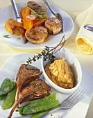 Lammmkoteletts mit Linsenpüree und Schweinefilet mit Möhren