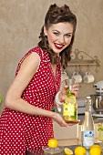 A retro-style girl holding a bottle of lemonade