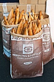 Baguettes in paper bags