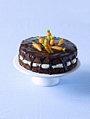 A chocolate cake with marzipan flowers for Easter