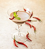 Martini with chocolate liqueur and chilli peppers
