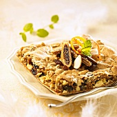 Mazurek (Polish Easter cake) with nuts and dried fruit