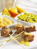 Pork fondue with fruity dips