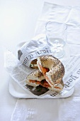 Poppy seed bagels with cream cheese and salmon