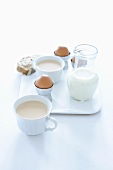 Breakfast with chai tea and boiled eggs