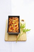 Tomato and bacon cake in a loaf tin
