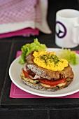 Croque Madame (blue cheese, ham and scrambled egg sandwich)