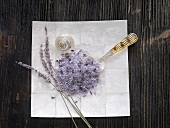 Fleur de sel with lavender, shells and a mother-of-pearl spoon