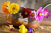 Edible flowers in a copper pot