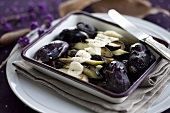 Baby aubergines baked with mozzarella