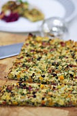 Chistmas bread stuffing on a chopping board