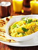 Mango dhal with naan bread (India)