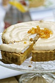 Lemon tart with a meringue topping and candided ginger