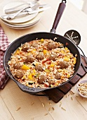 Oriental fried rice with meat balls